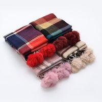 bebe fur collar - Fur Bufandas bebe invierno Winter baby Plaid Cashmere scarves rabbit fur balls boy girl Pure warmth Series children collar scarf