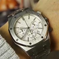 Relojes de lujo para hombre de marca nueva lista de alta calidad Movimiento de cuarzo importado Movimiento de dibujo de alambre de acero inoxidable cronógrafo multifunción