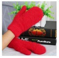 Wholesale Winter Gloves Fur Faux Rabbit gloves Mittens Winter Fashion Mitten Knitted Fingerless Wrist Arm Hand Outdoor Christmas Gloves Accessories