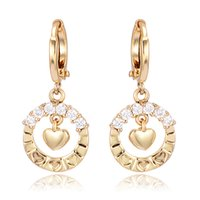 baby earrings white gold huggie - Gold Plated White Round Crystal Heart Hie Hoop Earrings Girls Baby Children Cute Ear Best Friends Gift Fashion Jewelry