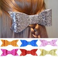 Wholesale 3 quot x1 quot inch Sparkle Black Glitter Fabric Large hair bow clip Bobble Hairpins Hair Accessories Colors