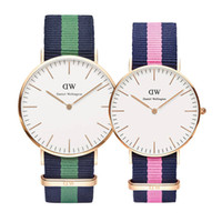 Wholesale 2017 Newest Customized mm watches Leather Nylon strap clock women man watch lovers fashion Gifts