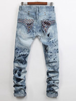 Wholesale Men Straight Jeans Classic Denim Trousers Robin Jeans For Men High Quality Cotton Jeans Fried Snow Slim Jeans Rhinestone Decoration
