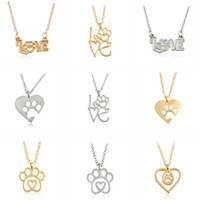 animal lovers gifts - Gold Silver Color Love Paw Heart Pendant Necklace Animal Pet Puppy Cat Dog Bear Footpoint Friendship Memorial Lover Christmas Gift