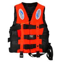 adult ski vest - New S XXXL Sizes Polyester Adult Life Jacket Universal Swimming Boating Ski Drifting Foam Vest with Whistle Prevention KSKS