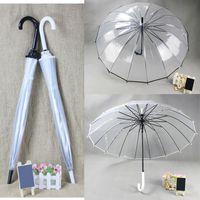 Plastic Raining Umbrella Long Handle Transparent Clear Umbrella, Creative Sun and Rain Umbrella Women Girls Outdoor Tools (Black White)