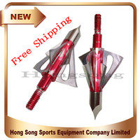 Wholesale 3 Hunting Broadhenads Blades Red Archery Hunting Grain Hunting Arrowheads Broadhead Crossbow Arrow Heads