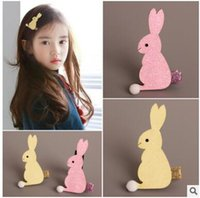 american powder - Children s jewelry flash powder lovely stereo rabbit form hairpin out small cloth clip hairpin two colors