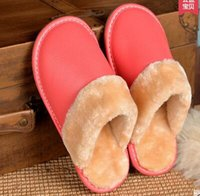 Wholesale High Quality Winter Couples Genuine Cow Leather Leisure Lamb Wool Cow Muscle Women Men Casual Shoes