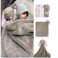 Spring/Autumn animal head blankets - Baby Bedding Blanket Rabbit Bear Elephant Animal Toy Head Soft Blanket Newborn g Swaddle Wrap76 cm Coral Fleece Plush Blankets KKA1399