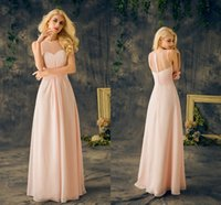 Sweetheart baby pink bridesmaid dresses - 2017 Baby Pink Bridesmaids Dresses Real Sheer Round Neck Sleeveless A Line Long Chiffon Junior Cheap Maid Of Honor Dresses For Wedding