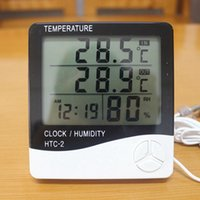 Wholesale Digital Thermometer Hygrometer HTC Weather Station Temperature Humidity Tester Clock Alarm Temp Indoor Outdoor Measuring LCD Sensor Prob