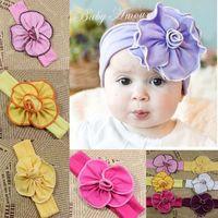 big bandanas - baby ribbon headband flowers for baby girl handmade accessories Elastic Headbands soft newborn photography shabby chic big wrist flowers