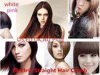 Wholesale Hair Straightener Flat Iron HQT Hair iron Straightening Brush Hair Styling Tool comb With LCD WHITE PINK US EU UK AU plug