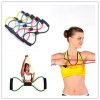 Wholesale 8 Type Tube Yoga Latex Elastic Stretch Resistance Bands Fitness Workout Equipment Tools order lt no track