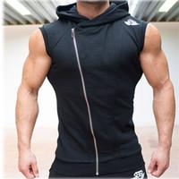 achat en gros de singulets à capuchon-Vente en gros-2016 nouveaux hommes Hoodie Brand Sweatshirts Fitness Workout Sleeveless Tee Shirts Cotton Vest Singlets Hooded Sous-maillot