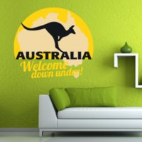 australia wallpapers - Australia Kangaroo Illustration Wall Sticker Wedding Decor Vinyl Waterproof Wall Pvc Sticker Wallpaper Decal Removable