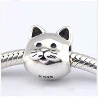 Se adapta a los granos de plata del gato de las pulseras de Pandora Nueva venta al por mayor de la joyería de los encantos DIY de la plata esterlina del 100% 925
