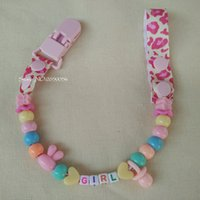 baby names s - Personalised Any name Hand made Funny colourful beads dummy clip holder pacifier clips soother chain for baby DC001