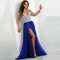 Wholesale Strapless Long Mermaid Prom Dresses Beaded Crystal Royal Blue Prom Dress for Graduation Evening Pageant Gown Side Slit