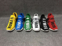 Unisex buy cheap - Pharrell Williams NMD HUMAN RACE shoes for Mens Womens In Black White Yellow Green Blue White and Grey buy cheap and