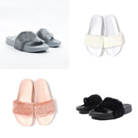 Wholesale Grey Black Pink White Cheap Slippers Leadcat Fenty Rihanna Shoes Women Slippers Indoor Sandals Girls Fashion Scuffs Send With Original Boxes