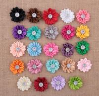 Wholesale 3 cm Mini Satin Fabric Flower for Headbands DIY Ribbon Polygonal Flowers Rhinestone In Center Baby Girl Hair Accessory YH400