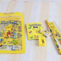 Wholesale 2016 pikachu stationery set for Students Office School Supplies poke go Cases Bag book pencils Ruler eraser sharpener bag