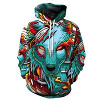 Cheap Wholesale-XQXON-Autumn Winter New Fashion Thin Cap Sweatshirts 3d Print Wolf Men women Hooded Hoodies Casual Hoody Tops