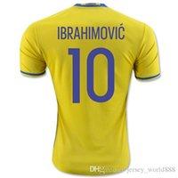 Wholesale Top Thai quality Sweden home yellow Soccer jersey Sweden Team National IBRAHIMOVIC KALLSTROM away blue Football shirt