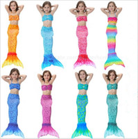 animal suit costumes - Kids Mermaid Tail Bikini Set Mermaid Swimmable Swimsuit Cosplay Swimming Costume Fashion Swimwear Fish Tail Beachwear Bathing Suit B1601