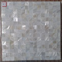 Wholesale mesh mounted Seamless Oyester White Square Mother of Pearl Shell Tiles for Kitchen or Bathroom Backsplash chip size mm