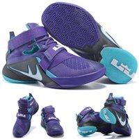 achat en gros de soldats lebron noir-(Avec chaussures Box) NOUVEAU James LeBron Zoom Soldat 9 749417-510 Violet Noir Bleu Hommes chaussures taille 7-12
