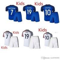 Cheap ' 16 17 France National team Kids Soccer Kits 2016 European Cup France Children football jerseys 17 POGBA GRRIEZMANN MATUIDI Youth unif