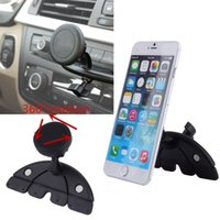ads mobile - Universal Adjustable CD Player Slot Smartphone Mobile Phone Car Mount Holder Rotating Magnet Stand Bracket for Mobile GPS AD