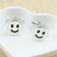 Wholesale Jmyy Jewelry One Pair Smiling Face Men Cufflinks Alloy French Silver Plated Cuff Links Jewelry Accessories