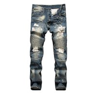 Wholesale Autumn Winter Mens Balmain Biker Jeans Runway Distressed New Fashion BRAND Design Ripped Slim Fit with Holes Cool Patchwork Jean Denim
