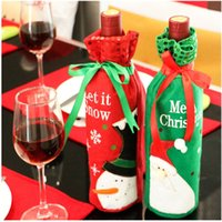 Wholesale Christmas Wine Bottle Bag Dinner Party Decoration Bow Knot Snowman Christmas Tree Santa Claus Bottle Cover Bag Christmas