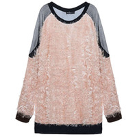 Wholesale Sexy Fashion Pullover Autumn Women Mesh Patchwork Tops Ladies Long Sleeve Back See Through Sweater Plus Size