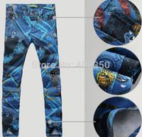 Wholesale Men s Unique Punk Print Quality Straight Blue Jeans Pant Pocket Casual Fashion Designer Jeans Brand New Night Club Jeans