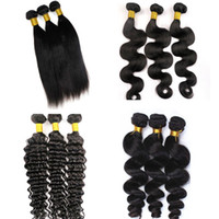 achat en gros de traces de cheveux pouces-Mink Virgin Brazilian Hair Bundles Cheveux humains Weaves Wefts 8-34 Inch Unprocessed Peruvian Indian Mongolian Virgin Remy Extensions de cheveux en vrac