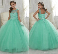 achat en gros de robe de robe de concours vert-2016 Sparkly Mint Green Beaded Crystal Girls Pageant Robes pour ados Princess Tulle Floor Length Enfants Prom Party Gowns