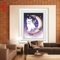 Wholesale YGS DIY D Full Diamond Mosaic canvas Diamond Embroidery Angel Cat Square Diamond Painting Cross Stitch Kits Home Decoration