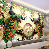 Wholesale Large Painting Home Decor Peacock green branches Murales De Pared d Wallpaper Hotel Background Modern Mural for Living Room