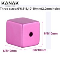 Gold anodized aluminum parts - KANAK FASHION Anodized Metal parts Cube Aluminum Beads DIY Jewelry accessories Findings Components