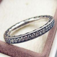 Wholesale S925 ale steriling silver pandora ring full AAA zircon rhinestone crystal pandora rings with box valentine s day