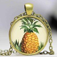 Collar libre de la piña del envío, joyería de la fruta, joyería de Tiki, collar tropical del colgante de la bóveda del vidrio del arte de la isla