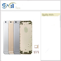 Wholesale Full Housing Back Battery Cover Middle Frame Metal For iPhone Gray Gold Sliver with logo Replacement Part Free DHL Shipping