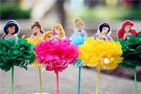 Venta al por mayor- 7,2 '' Princesa Snow White Cenicienta Aurora Ariel Belle Cupcake Toppers Decoraciones de fiesta de cumpleaños Kids baby shower 12pcs