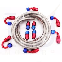 aluminum fuel lines - Stainless Steel Braided Hose Fuel Oil Line Oil Cooler Pipe Fitting AN AN AN AN AN Meter in stocked ready to ship